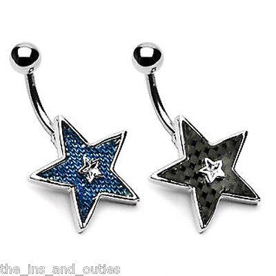 Star Denim/Carbon Clear CZ Gem Belly Ring Navel Naval Black, Blue