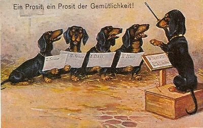 Dachshund Choir L - MATTED Dog Art Print - German / NEW