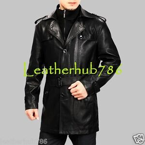 eece6b3a943 Men s Black Trench Coat Handmade Genuine Lambskin Leather Causal ...