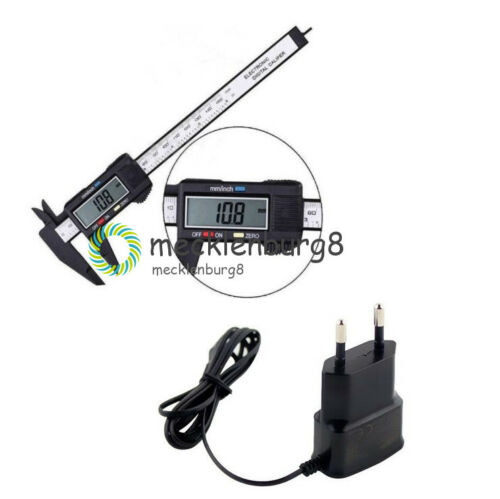 LCD Digital Electronic Carbon Fiber Vernier Caliper+5V Micro USB Plug Charger MT