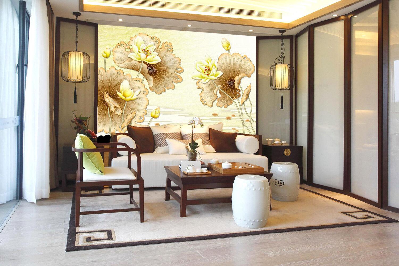 3D golden Lotus Painting724 Wallpaper Mural Paper Wall Print Wallpaper Murals UK