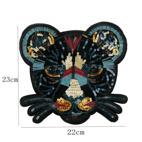leopard head sequin embroidered fashion applique sew on patch diy clothe TK
