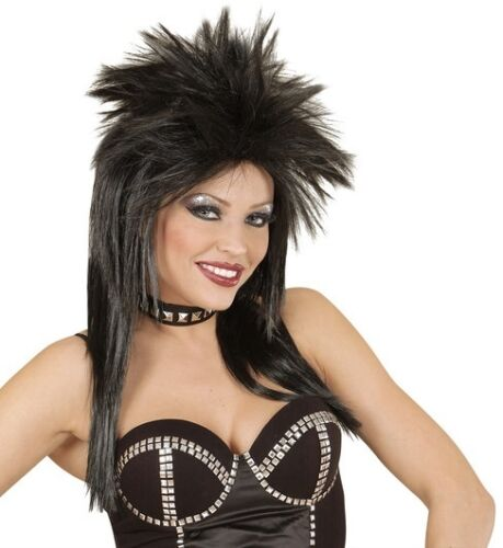 Ladies Punk Rocker Fancy Dress Wig Diva 80s Glam Rock Chick Tina Turner