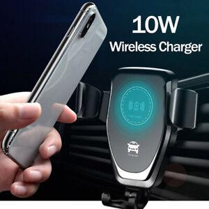 10W Qi Inalámbrico Cargador Soporte de coche para iPhone 8...