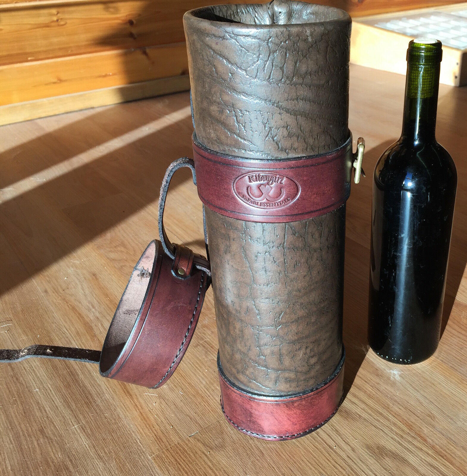 Gorgeous Buffalo Leather Wine Carrier Holder Case Rare MUST SEE 14 x 4.5