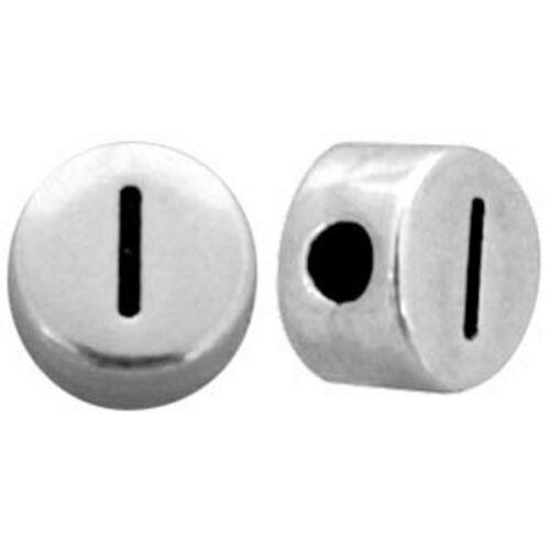1 Stk. Buchstabenperlen silber Perlen Armband basteln 7 mm rund DQ Metall