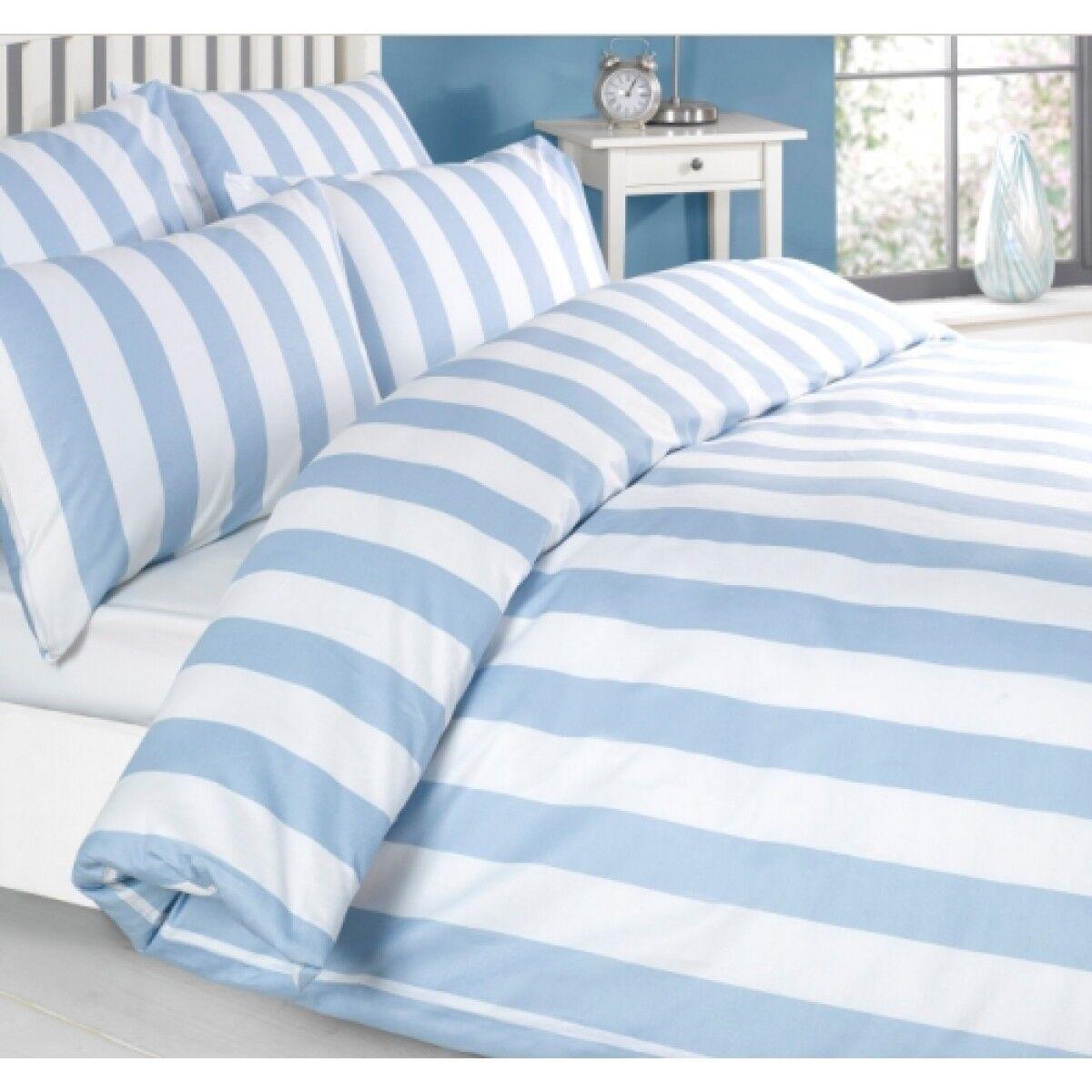 100% Cotton Blau Stripe Duvet Quilt Cover Bedding Set & Pillowcases Double Größe