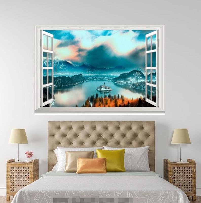 3D Blau Sky 4158 Open Windows Mural Wall Print Decal Deco AJ Wallpaper Summer