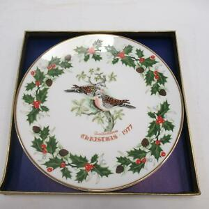 Royal-Grafton-1977-Collectors-Christmas-Plate-Two-Turtle-Doves-Boxed-2nd-Edition