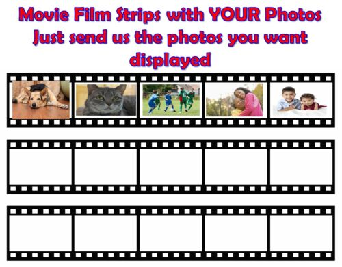 MOVIE FILM WITH YOUR PICTURES  Edible Cake Topper Frosting Sheet quarter half