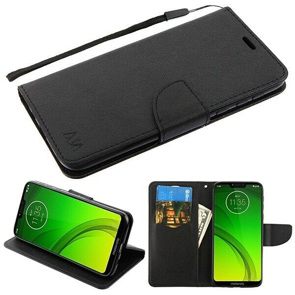 Motorola Moto G7 Power Leather Flip Wallet Case Cover Folio Pouch Stand Black For Sale Online Ebay
