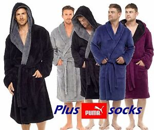 MENS-SOFT-COZY-FLEECE-BATHROBE-DRESSING-GOWN-ROBE-PUMA-SOCK