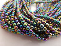 1 Strand x 4mm (100 Beads) Rainbow Coloured Non-Magnetic Hematite Round Beads