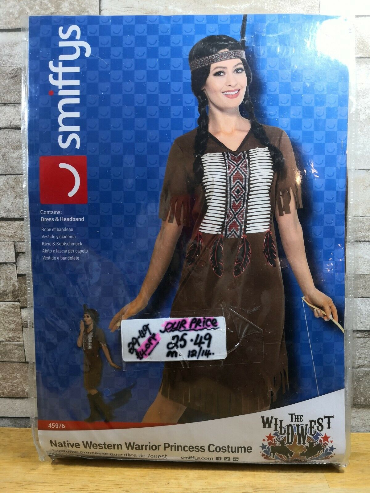 SMIFFYS NATIVE WESTERN WARRIOR PRINCESS INDIAN COSTUME SIZE 12 - 14 BRAND NEW IN