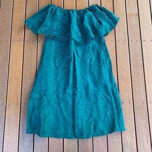 Frankie-Dash-Size-XXL-Linen-Blend-Green-Off-The-Shoulder-Dress-Casual-New-NWOT