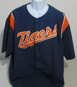 new concept 6f22b 88e74 Details about MLB Detroit Tigers Blue Stitches Baseball Jersey Mens XL