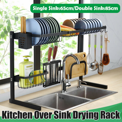 65cm//85cm 2 Tier Stainless Steel Over Sink Dish Drying Rack Kitchen Home Holder