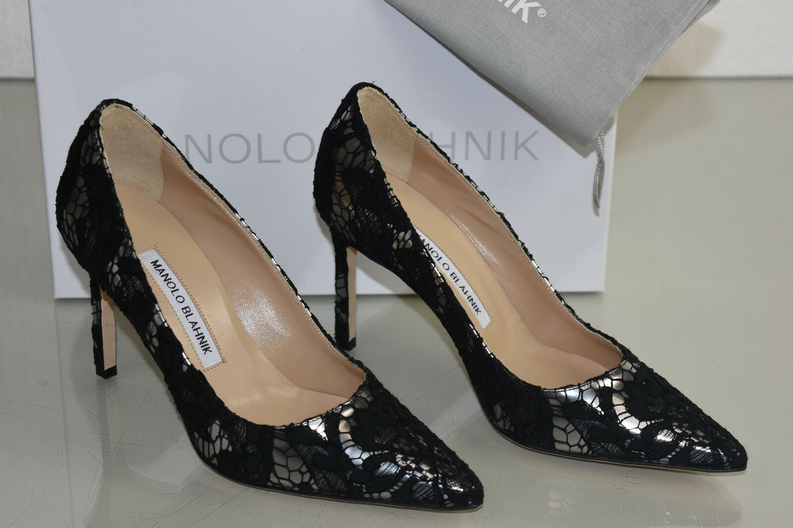 745 New Manolo Blahnik BB Lame 90 Pumps Silver w Black Lace Over shoes 36