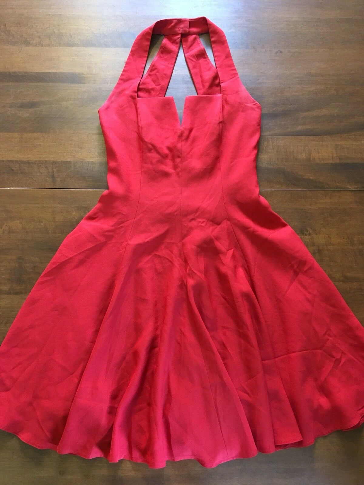 Vintage AJ Bari Red Party Formal Prom 80s Halter Dress Fit Flare Sz 8