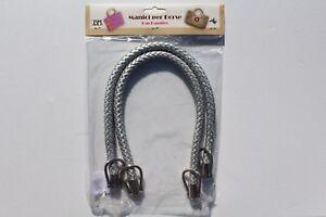 1-Paar-hochwertige-Taschengriffe-lederoptik-geflochten-silber-55cm