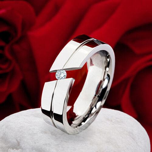 Anillo de compromiso solicitud anillo señora anillo de acero inoxidable con circonita grabado dz227