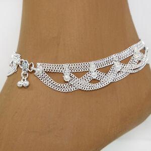 Fusskettchen-1-Stueck-Bollywood-Indien-Orient-Fusskette-Hippie-Silber-24cm-30g-K1
