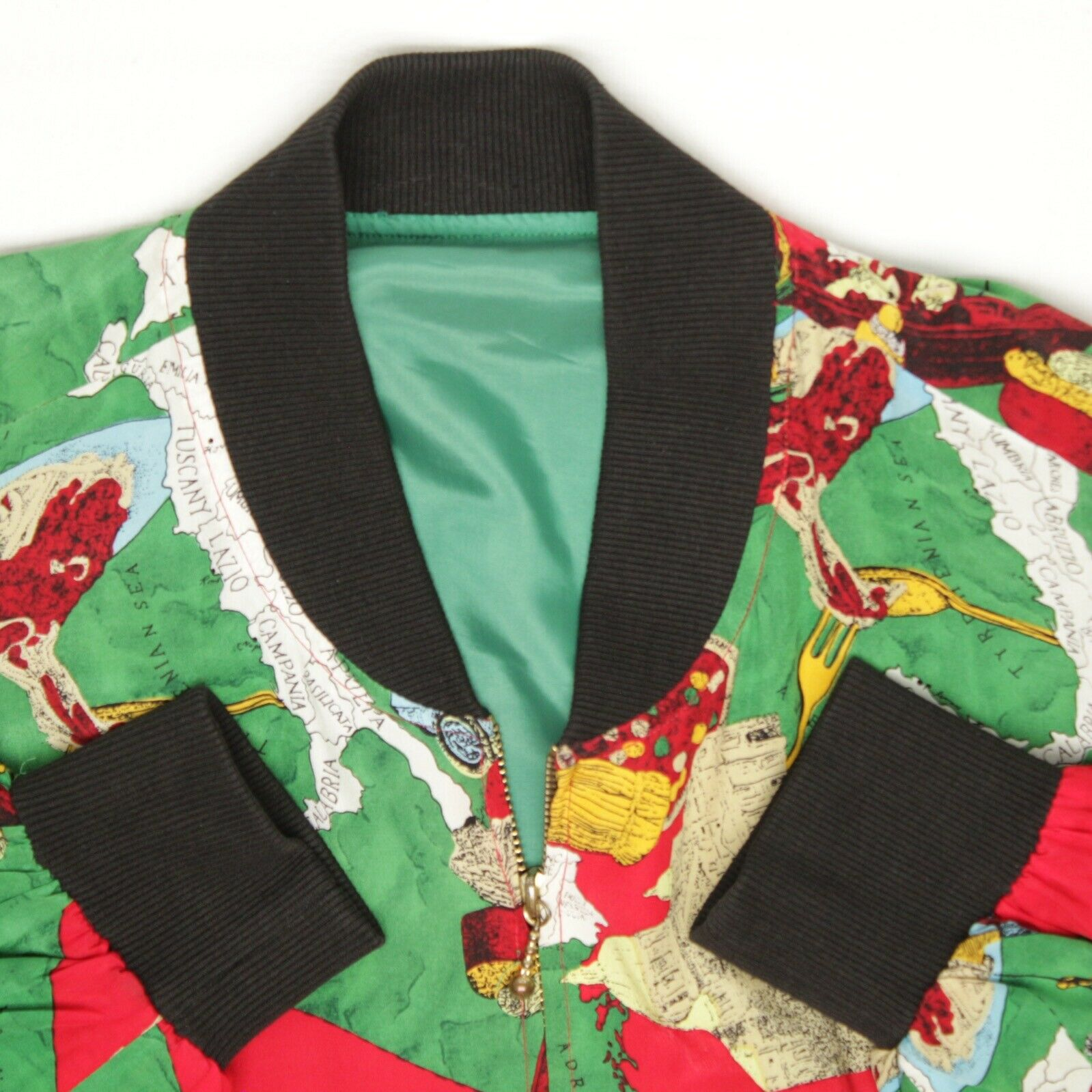 Silk Bomber Jacket L Red Green Italy Print Sports… - image 4
