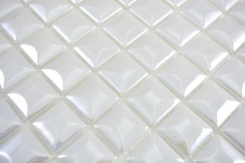 Mosaïque Carreau Eco Recyclage Verre Eco Blanc Metallic350-22/_f10 nattes