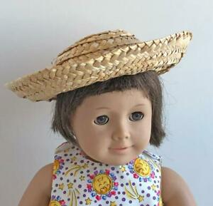 Hats-Lot-of-2-for-American-Girl-Doll-Wide-Brim-Straw-Hat-Sun-Bonnet-Clothing-New