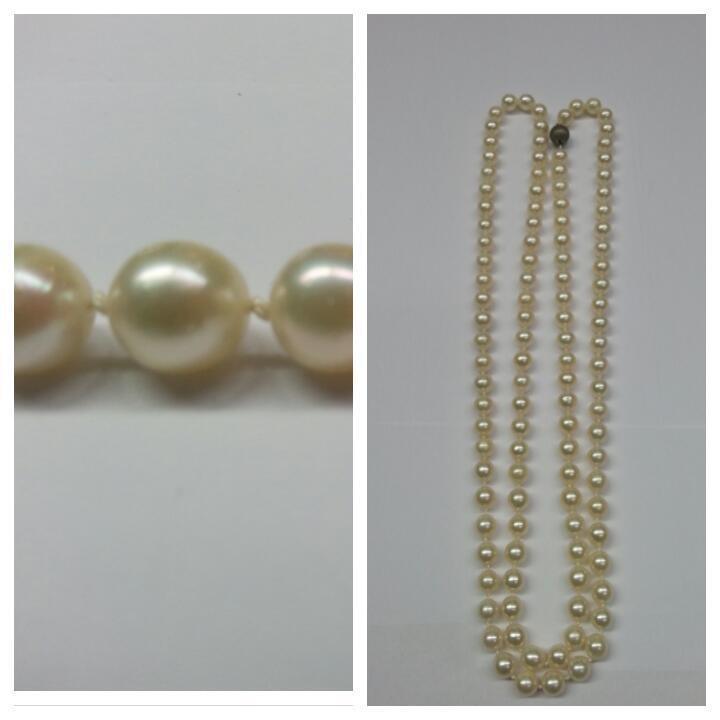 Perle lunga catena singolarmente piccoli nodi Perle Collier 835 835 835 egli argentoo Akoya Perle 33a52d