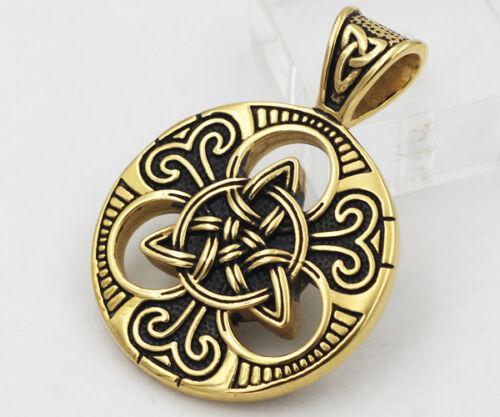 ROUND Celtico Argento Irlandese Scozzese Gallese Knot Pendente Acciaio Inox scegliere