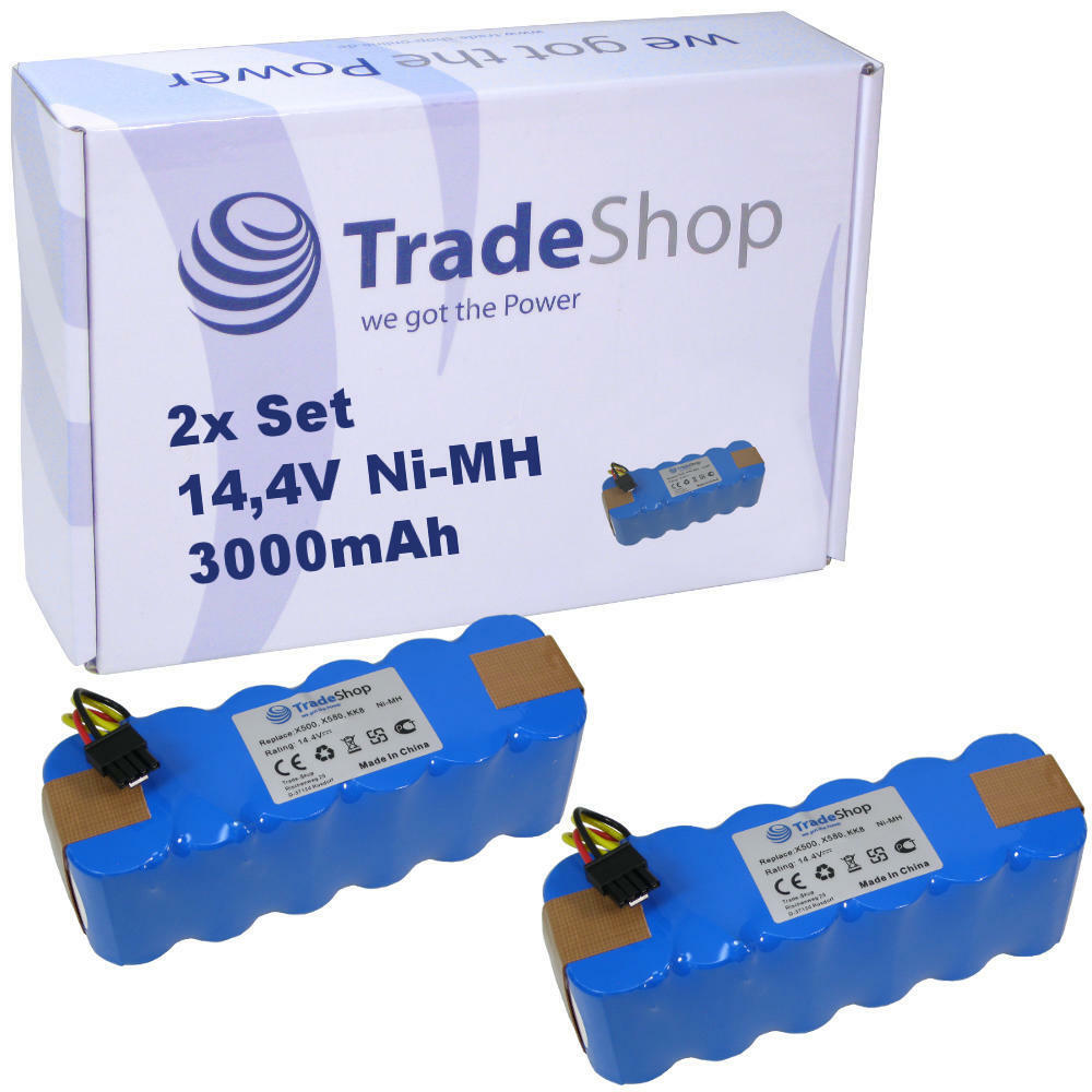 2x Trade-Shop AKKU 14,4V 3000mAh Ni-MH für Dibea Cobos X-500 X-580 CR-120 KK8