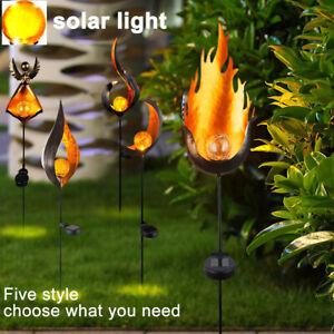 BS-LED-Solar-Aussen-Steck-Leuchte-Garten-Dekor-Erdspiess-Glas-Kugel-Lampe-Flamme