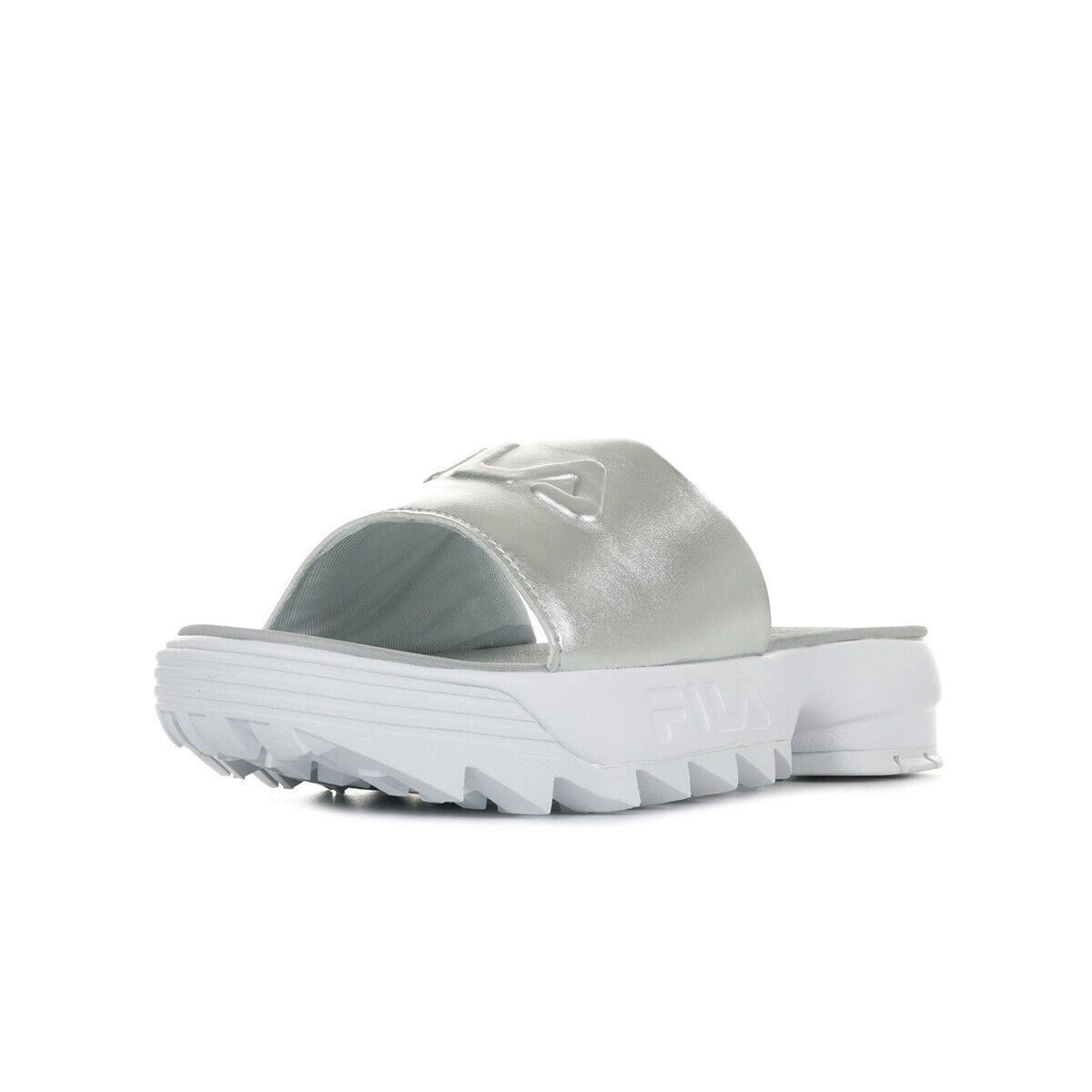 Tap shoes woman fila disruptor slide metallic silver size