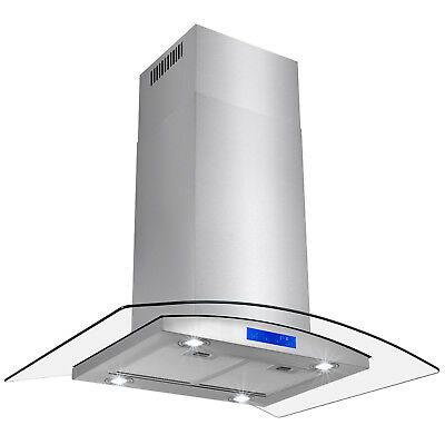 """New 36"""" Island Stainless Steel Glass Range Hood Stove Vents Kitchen Cooking Fan"""