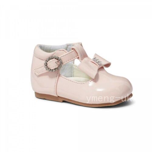 Stunning Baby Girl Spanish Patent T Bar Walking Shoes//Diamante Buckle LILY