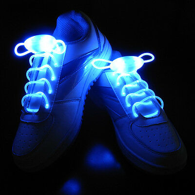 Blue Flashing LED Shoelaces Light Up Shoestrings Party Skating Sports Xmas Gift