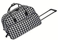 "BRAND NWT Black/White Houndstooth Rolling Trolley Travel Bag w/Handle 21""Lx11""W"