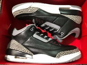 cbc7568215ebf8 Nike Air Jordan 3 Black Cement Grey 2011 Retro with Original Box AJ ...