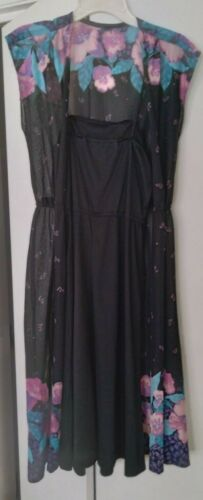 womans vintage black dress with floral duster