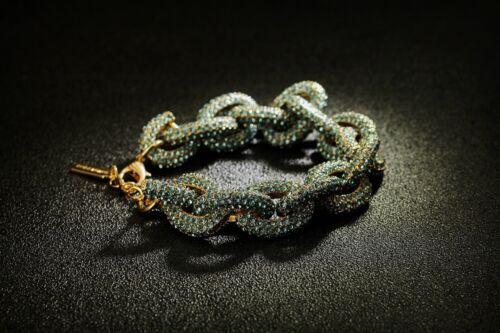 Bracelet Doré Maillon Pavé Cristal Vert Bleu Class Retro Mariage CT6