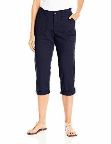 Lee NWT Women/'s Petite Capri Pants Relaxed Fit Olive or Navy Cotton//Spandex