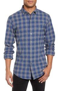 Rodd-amp-Gunn-NWT-Mens-Shirt-Button-Down-3XL-Slim-Fit-Blue-Gray-Plaid-Italy-168