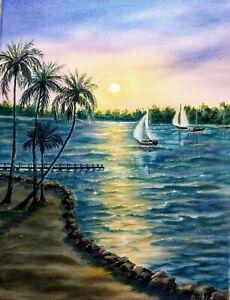 Art12-034-16-034-Coconut-palm-inn-Key-Largo-FL-sunset-dock-boats-seascape-landscape