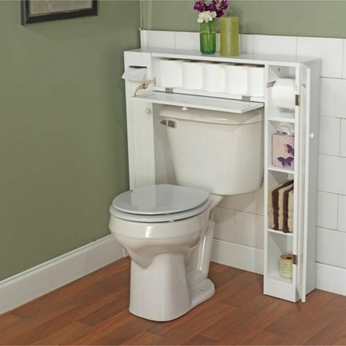 Delicieux Bathroom Space Saver White Storage Cabinet Supply Rack Wood Caddie Over  Toilet | EBay
