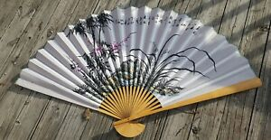 Vintage-Large-Hand-Painted-Bamboo-Wall-Fan-Oriental-Asian