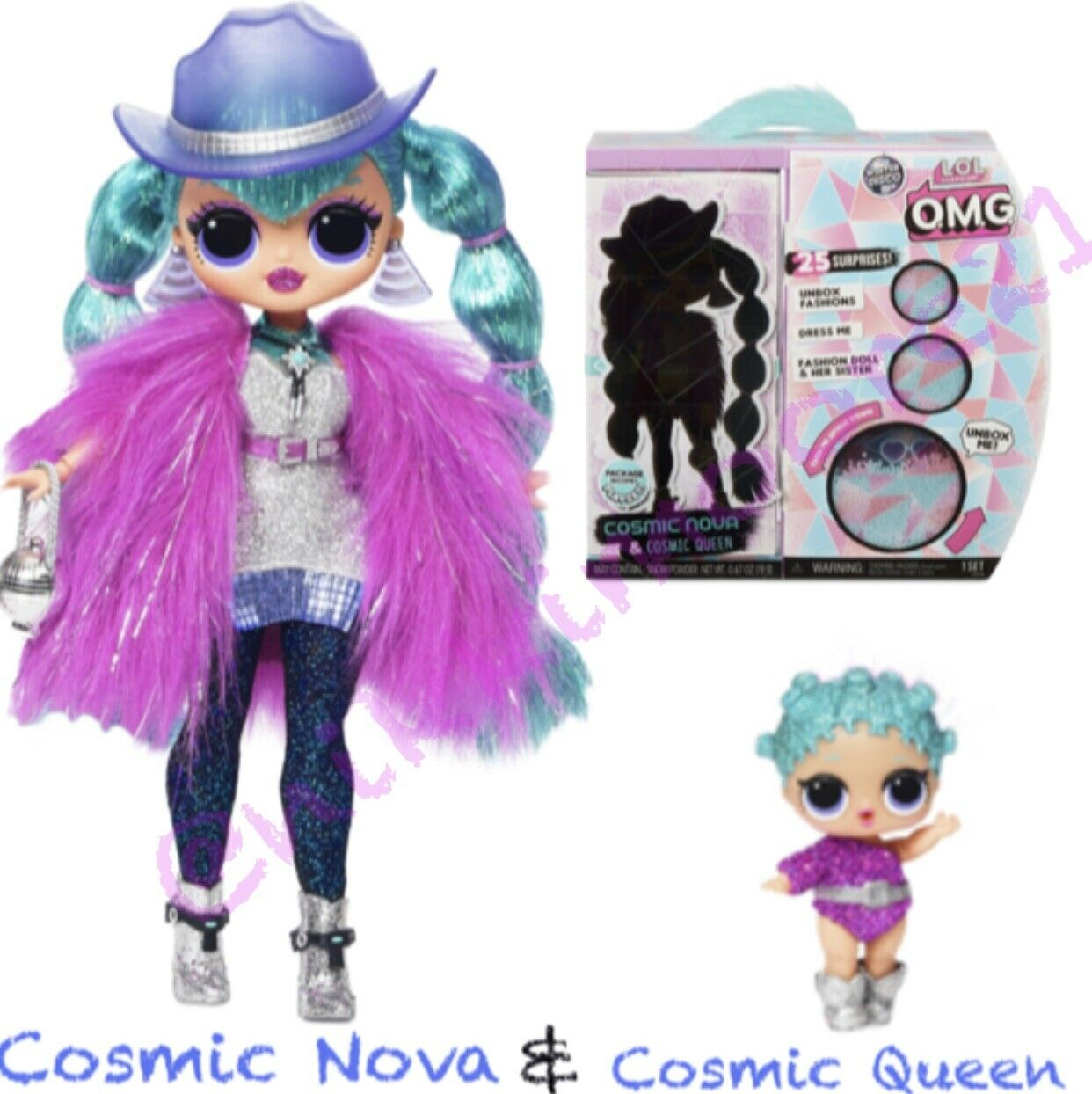 Lol Überraschung Omg Winter Disco Cosmic Nova Groß Puppe + Queen Sister in Hand