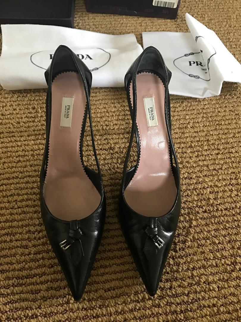 Prada Mujer Zapatos De Tacón Cuero Negro Negro Negro  compras de moda online