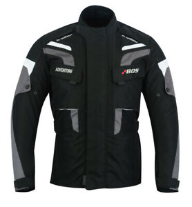 Textiljacke-Herren-Sommer-Jacke-Motorrad-Schwarz-Grau-Biker-Motorrad-Jacke-Neu