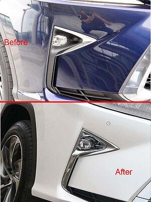 2pcs ABS Chrome Front Fog Light Lamp Cover Trim Decor fits Lexus RX350 2016-2019